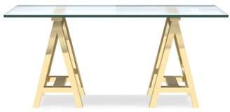 Williams-Sonoma Mason Glass Top Desk, Brass