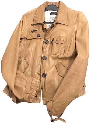 Ikks Camel Leather Leather Jacket for Women