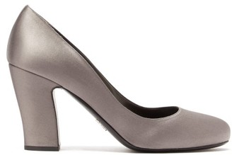 Prada Block Heel Satin Pumps - Womens - Grey