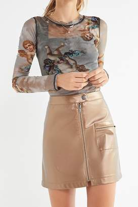 Urban Outfitters Demi Metallic Zip-Front Mini Skirt