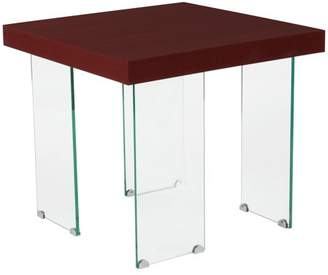 Flash Furniture Forest Hills Collection Red Cherry Wood Grain Finish End Table with Glass Legs