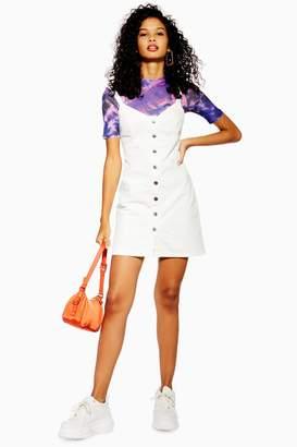 Topshop Womens Denim Button Down Bodycon Dress - White
