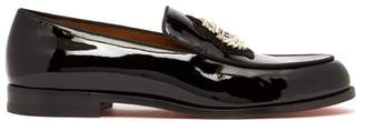 Christian Louboutin Laperouse Crystal Embellished Patent Loafers - Mens - Black