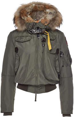 Parajumpers Gobi Down Bomber Jacket with Fur-Trimmed Hood