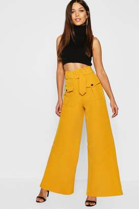 boohoo Utility Pocket High Waisted Belted Wide Leg Pants
