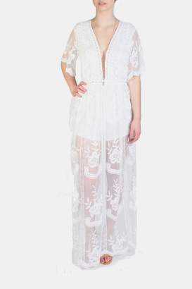 Honey Punch Butterfly Lace White Romper