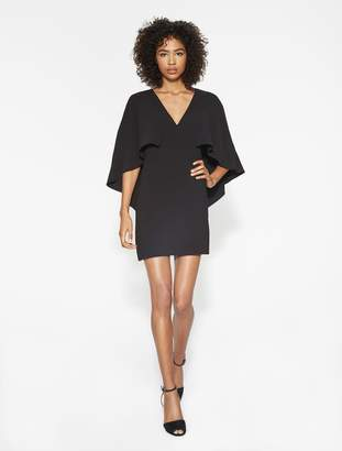 Halston Flowy Cape Sleeve Crepe Dress