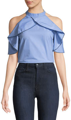 Madisonne Ruffled Halter-Neck Cold-Shoulder Blouse
