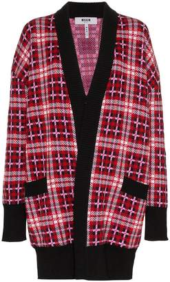MSGM wool contrast trim knit cardigan
