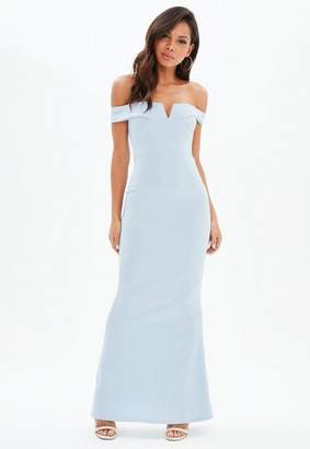 Missguided Blue Bardot Scuba Fishtail Maxi Dress