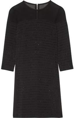Karl Lagerfeld Tinsel-Trimmed Paneled Crepe Chiffon And Satin Mini Dress