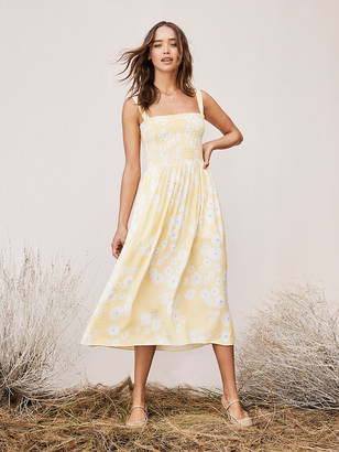 Diane von Furstenberg TVF Buttercup Crepe Smocked Midi Dress