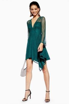 Topshop Womens Lace Hanky Hem Skater Dress