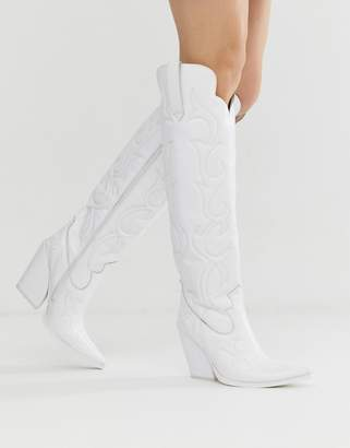 Jeffrey Campbell white knee high western leather boots