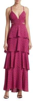 A.L.C. Titus Printed Ruffle Maxi Dress