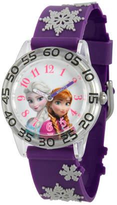EWatchFactory Disney Frozen Elsa and Anna Girls' Plastic Time Teacher Watch
