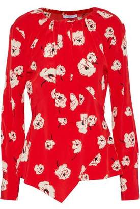 Derek Lam 10 Crosby Pussy-Bow Asymmetric Floral-Print Silk Blouse