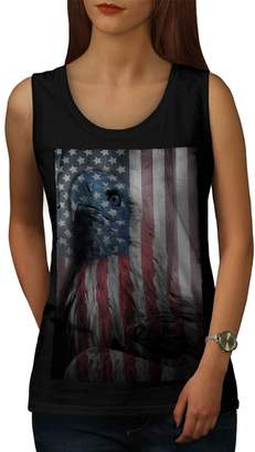 American Eagle Wellcoda Glory Womens Tank Top, US Flag Fit Style Sports Shirt L