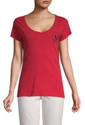 True Religion Crest V-Neck Cotton Tee