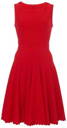 Alaia Sleeveless Tonal Dot Flare Dress