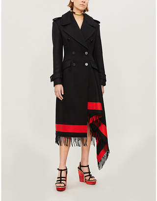 Alexander McQueen Fringe-trim double-breasted wool-blend coat