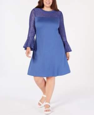 Love Squared Trendy Plus Size Lace-Yoke A-Line Dress