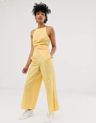 Asos Design DESIGN Linen stripe twist front jumpsuit