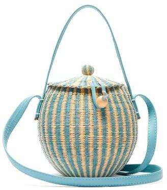 Sensi Studio - Striped Straw Shoulder Bag - Womens - Blue Multi