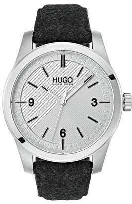 HUGO Automatic Felt Strap Watch, 40mm