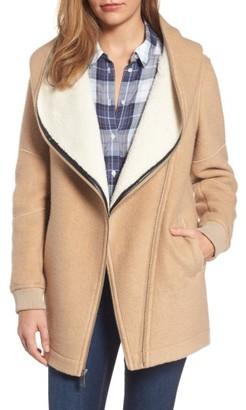 Women's Bcbgeneration Asymmetrical Hooded Wool Blend Coat