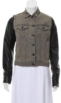 Rag & Bone Leather-Accented Denim Jacket