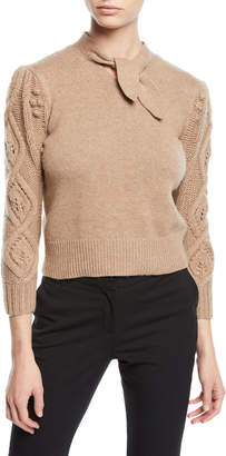 Co Tie-Neck Cable-Knit Sleeve Wool-Cashmere Sweater
