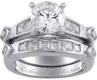 Unbranded Sterling Silver 6.6 Carat T.G.W. Cubic Zirconia 2 piece Wedding Ring Set