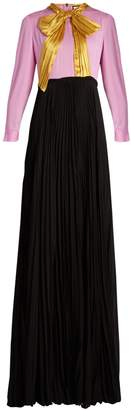 Gucci Ruched-bow pleated-skirt silk-georgette gown