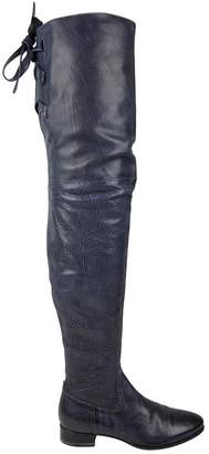 Santoni Blue Leather Boots