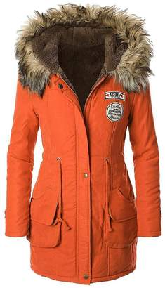 American Trends Women's Faux Fur Lined Hooded Outdoor Winter Parka Coats Long Jacket(US Size 4-6(Lable size M), )