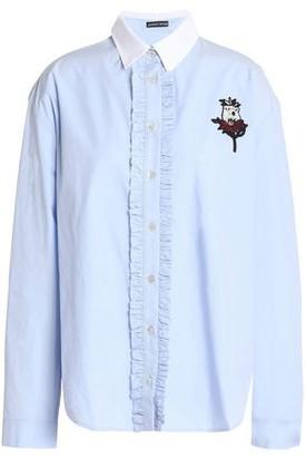 Markus Lupfer Ruffle-Trimmed Appliquéd Cotton-Poplin Shirt