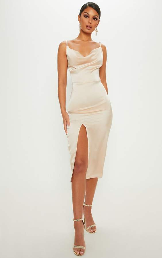 Champagne Strappy Satin Cowl Midi Dress