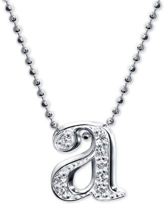 """Alex Woo Diamond Initial """"a"""" 16"""" Pendant Necklace in 14k White Gold"""