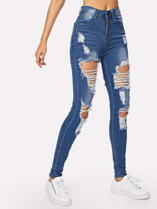 Shein Ripped Faded Wash Button Fly Skinny Jeans