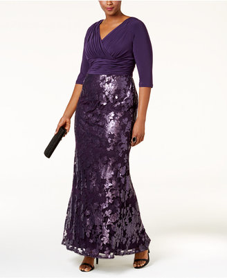 Adrianna Papell Plus Size Sequined Lace Gown $269 thestylecure.com