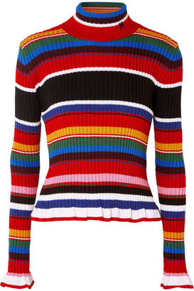 MSGM Striped Ribbed Wool-blend Turtleneck Sweater - Red