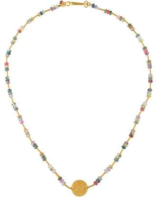 18K Sapphire & Ruby Beaded Necklace