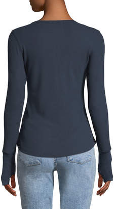Sweet Romeo Star-Print Snap-Front Thermal Henley Tee