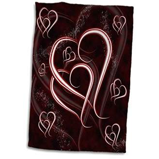 3D Rose Valentine Entwined Heart Outlines on deep Burgundy Maroon Background TWL_37577_1 Towel