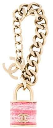 Chanel Tweed Padlock Charm Bracelet