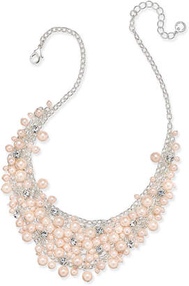 """Charter Club 16"""" Glass Pearl Cluster Bib Necklace"""