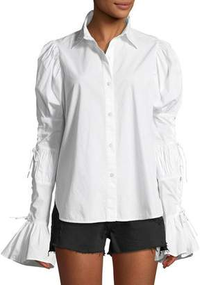 Frame Button-Down Lace-Up Sleeve Cotton Shirt