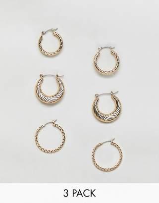 Reclaimed Vintage inspired 3 pack hoop earrings