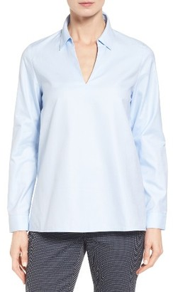Women's Nordstrom Collection Popover Oxford High/low Shirt $229 thestylecure.com